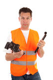Man in safety vest Stock Photo
