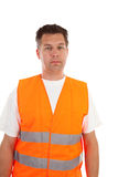 Man in safety vest. Over white background stock photography