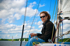 Man On A Sailboat Royalty Free Stock Photo