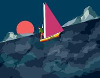 Man sailing on a stormy night stock illustration