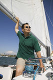 Man Sailing Boat Stock Photography