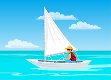 Man sailing on a sailboat. On a sea Stock Photography