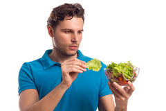Man With Salad Isolated On White Background Stock Photos