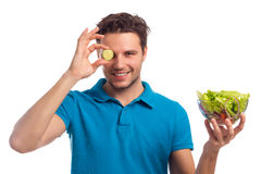 Man With Salad Isolated On White Background Stock Photo