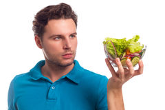 Man With Salad Isolated On White Background Royalty Free Stock Image