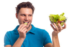 Man With Salad Isolated On White Background Royalty Free Stock Photos
