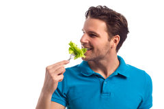 Man With Salad Isolated On White Background Stock Image