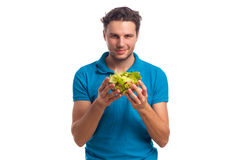Man With Salad Isolated On White Background Stock Images