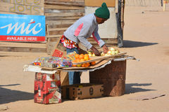 Man sale fruits and vegetables in Mondesa slum Stock Images