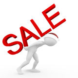 Man with the Sale Inscription. 3D Man is Carying the Sale Inscription Royalty Free Stock Photography