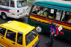Man saleing small goods on Lima street in Peru. 2010-03-01 Man is selling small goods on Lima street in Peru during traffic stop Royalty Free Stock Photo