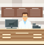 Man salesman standing near cash register of the store. stock illustration