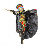 Man in Samurai Decorated Costume with Fan. On white background Royalty Free Stock Photos