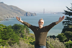 A man in San Francisco, Golden Gate Bridge Royalty Free Stock Images