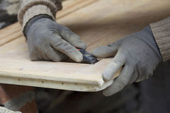 Man sanding wood Royalty Free Stock Images