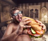 Man with sandwich Royalty Free Stock Image