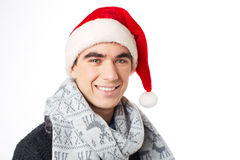 Man in Santa cap Royalty Free Stock Photos