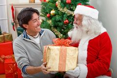 Man with Santa Claus Royalty Free Stock Photo