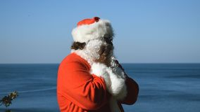 A man in a Santa Claus costume on the seashore. Christmas in the tropics. A man in a Santa Claus costume on the seashore stock video