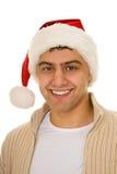 Man in a Santa Claus hat Stock Photos