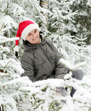 Man in Santa Claus hat Stock Photo