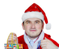 Man in Santa hat Stock Photos