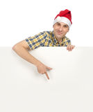 Man in Santa hat Stock Images