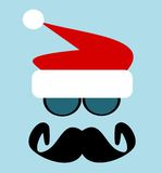 Man with santa hat and big mustache Royalty Free Stock Image