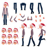 Man in Santa hat, character creation set, Christmas celebration. Man in Santa hat, character creation set with different poses, gestures, faces, cartoon vector Stock Photography