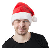 Man with a santa hat. Royalty Free Stock Image