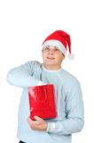 Man in santa's hat interesting Royalty Free Stock Photos