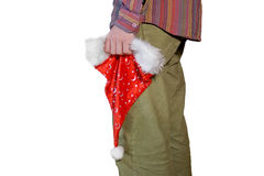 Man with santahat. Isolated on white background Royalty Free Stock Photos