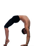 Man sarvangasana setu bandha bridge pose yoga Stock Images