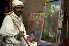 A man sat in a church, Lalibela Royalty Free Stock Photo