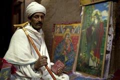 Man sat in a church, Lalibela Stock Photos