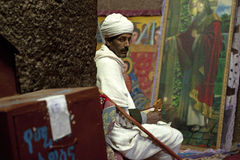 A man sat in a church, Lalibela Stock Images