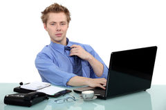 Man sat at desk Royalty Free Stock Images