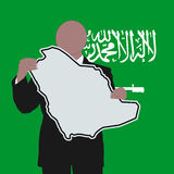 Man with Saudi Arabia sign Stock Images