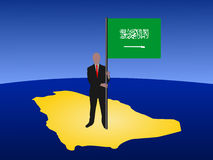 Man with Saudi Arabian flag Stock Photography