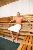 Man in Sauna Stock Photography