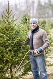 Man cutting Christmas tree Stock Photo
