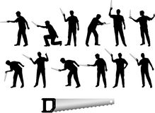 Man with saw silhouettes. Available in vector format royalty free illustration