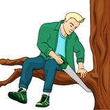 Man sawing tree branch on which sits object on white background raster illustration. Make yourself worse metaphor. Man sawing tree branch on which sits raster stock illustration