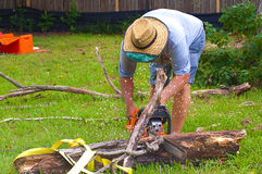 Man Sawing Up Limb Royalty Free Stock Images