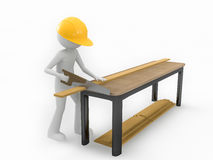 Man Sawing Wood Stock Images