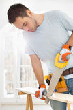 Man sawing wood in new house Stock Images