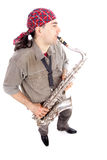 Man and sax Royalty Free Stock Image