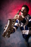 Man and sax Royalty Free Stock Photography