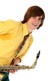 Man with a sax musical instrument Stock Image