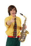Man with a sax musical instrument Stock Photo